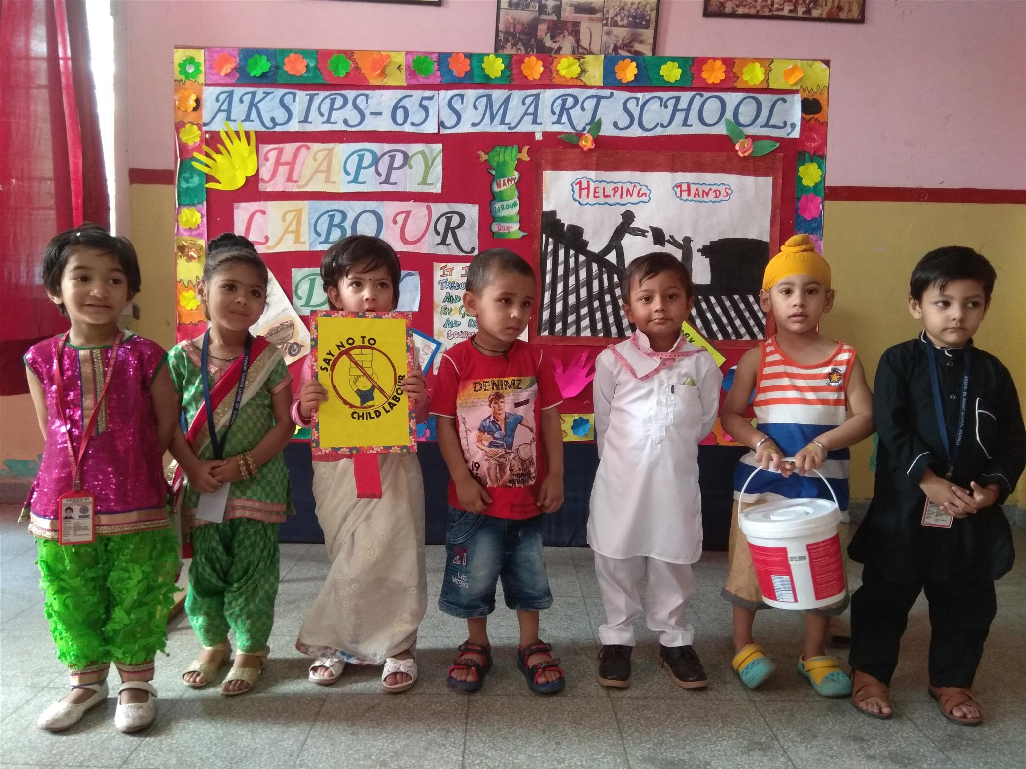 Lil ones rock with their reverence and gratitude shown through their fancy dress activity on Labour day   AKSIPS 65 Chandigarh