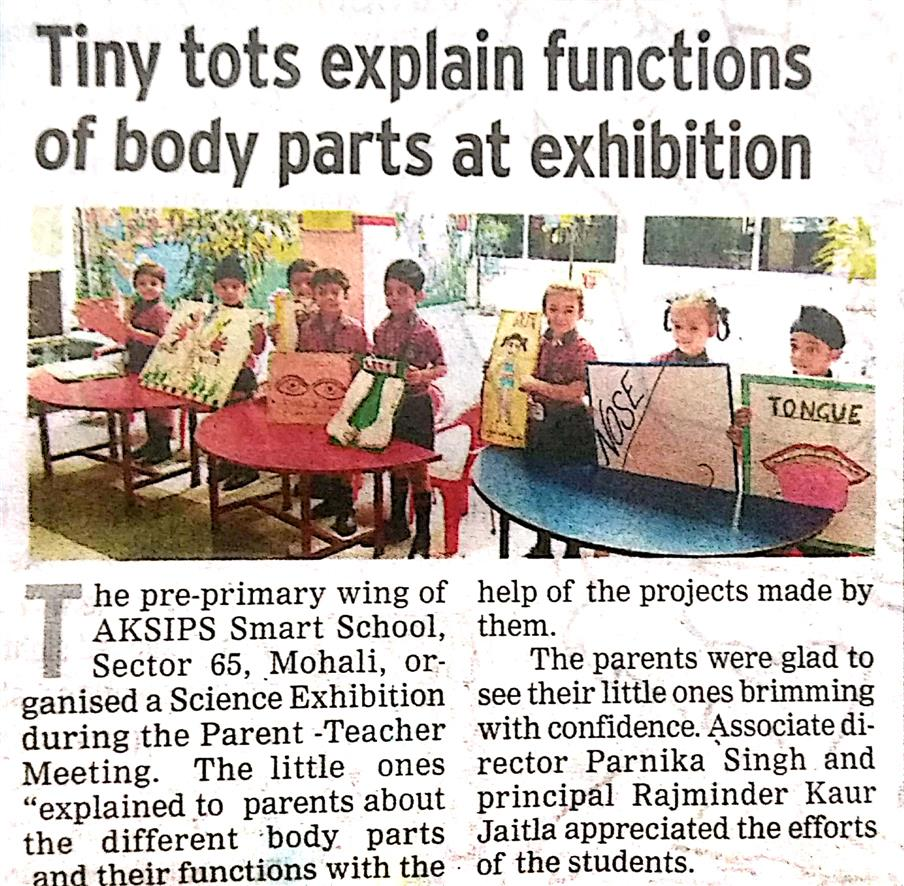 Tiny tots explain functions of Body part at exhibition | AKSIPS SECTOR-45 CHANDIGARH